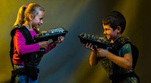 Children use LaserTag products manufactured in UK by LaserVenture