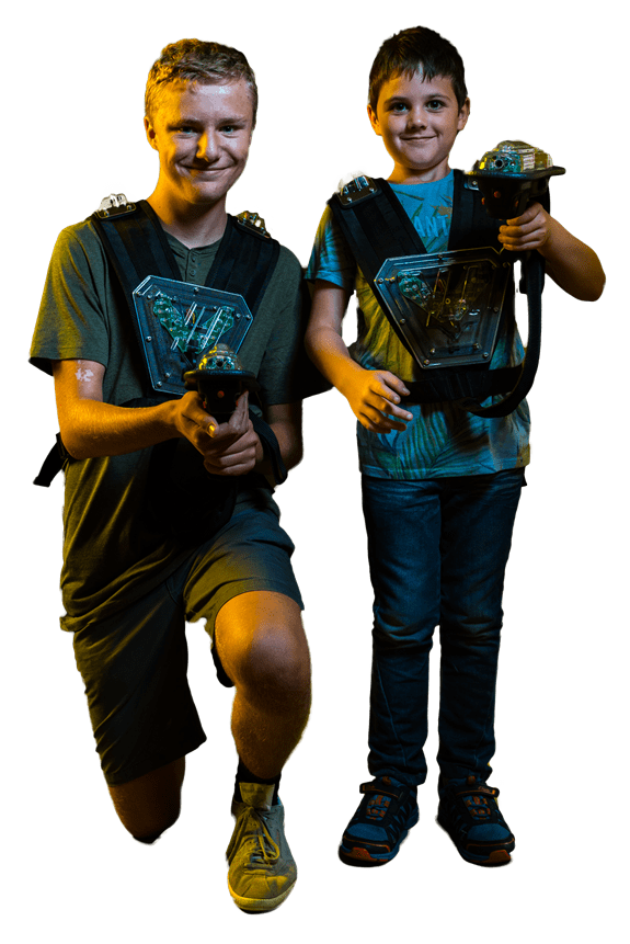 Teenager and 6 year old boy with Crystallite phaser